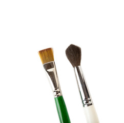 Two Wooden Paint brushes isolated over white