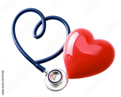 Red heart and a stethoscope - 67747598