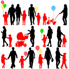 Black set of silhouettes of parents and children with balloons o