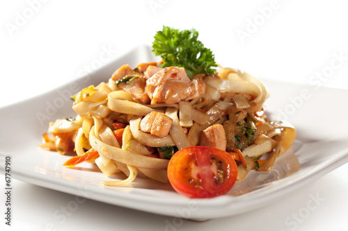 canvas print picture Noodles with Seafood