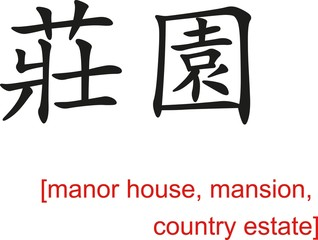 Chinese Sign for manor house, mansion, country estate