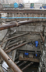 Construction of the tunnel in Russia, the pit