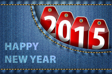 Happy New Year greetings and 2015 digits on jeans