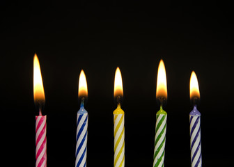 row of striped birthday candles