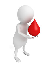 white 3d man holding red blood drop