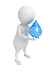 3d man holding blue water drop