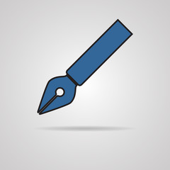 Vector pen icon on gray background