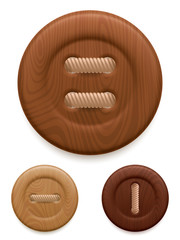 Set of 3 wood clothing buttons.