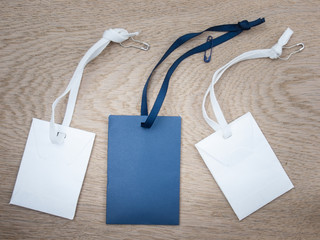 blue and white paper envelopes with ribbons