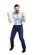 Excited handsome man with arms raised in success -