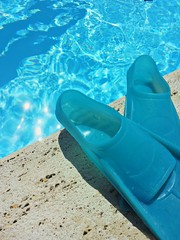 Fins at swimming pool