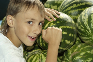 Young boy with watermelon