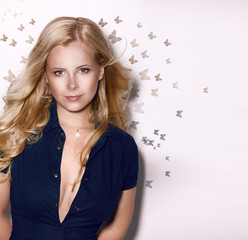 Portrait of Beautiful Gorgeous Woman Blonde with Butterflies