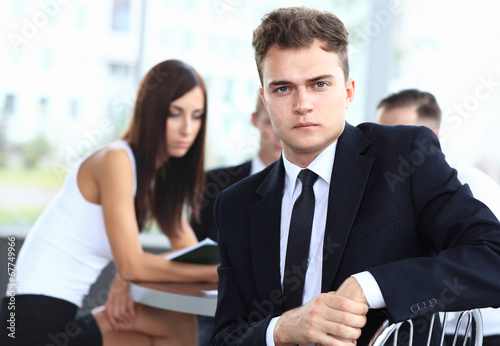 Happy smart business man