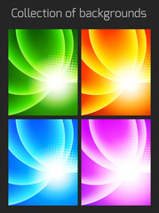 Set of colorful backgrounds with light effect