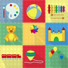 Nine colorful toy icons