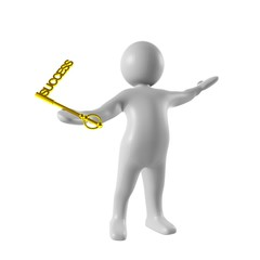 3d man holds a golden success key