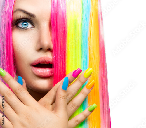 canvas print picture Beauty Girl Portrait with Colorful Makeup, Hair and Nail polish