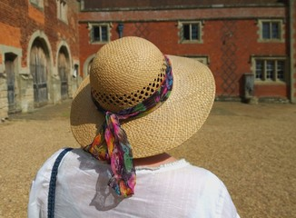 woman at stately home