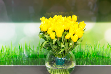 Vase of yellow tulips in modern  living room