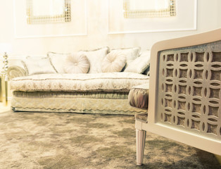 Luxury sofa in beige fashion interior