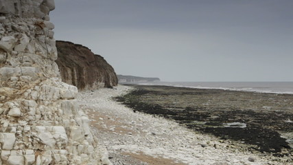 Rocky beach and the North Sea in Bridlington, UK