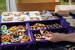 hand takes wooden decorative buttons sold in fair
