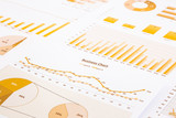 yellow business charts, graphs, report and summarizing backgroun poster