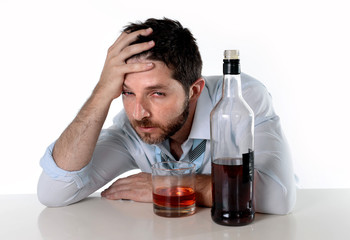 drunk businessman wasted drinking alcohol suffering hangover