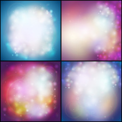 Set of Abstract multicolored backgrounds, defocused lights