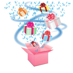 Open cardboard box with an a gifts on white background