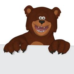 Cute cartoon 3d bear with a blank frame