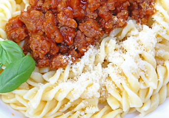 Fusilli and bolognese