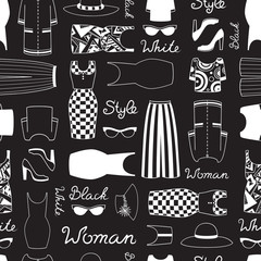 Vector pattren with women's clothing in black