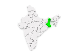 Map of West Bengal. India.
