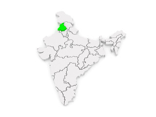 Map of Punjab. India.