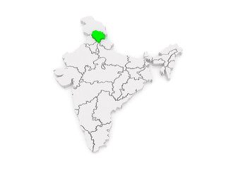 Map of Himachal Pradesh. India.