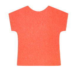 Flat red T-shirt sticky note, isolated