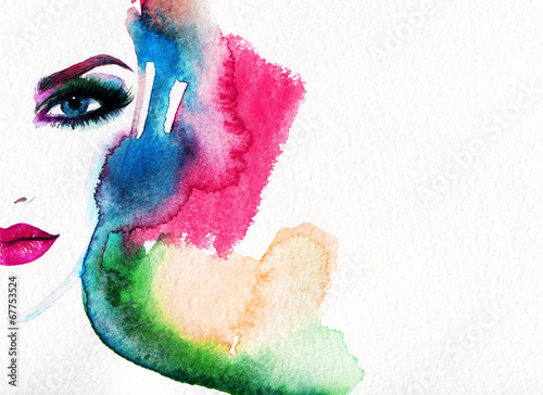 Papiers peints Portrait Aquarelle woman portrait .abstract watercolor .fashion background