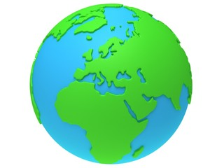 Earth planet globe. 3D render. Europe view.