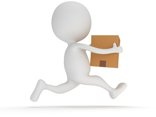 3d man icon running with a box in his hand