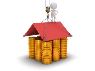 3D house build with gold coins