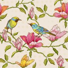 Vintage seamless - Fleurs et Oiseaux