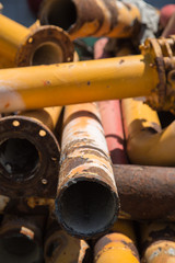 Rusted construction exhaust pipes