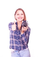 Teen girl with camera showing like