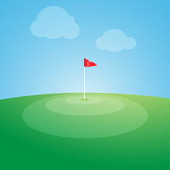 Flag on the golf course vector illustration