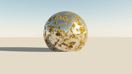 Metallic chrome sphere in desert