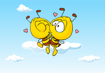 bee in love kissing - cute illustration