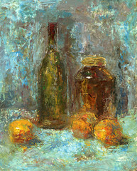 bottle, bank and oranges