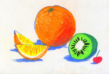 orange, kiwi and cherry